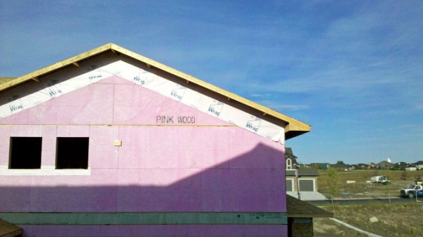 According to this panel of Pink Wood installed on a house's side at Ranchers' Rise in Okotoks, it's, well... Pink Wood, a type that's treated to help reduce flame spread in event of a fire, as well as help with mildew resistance.